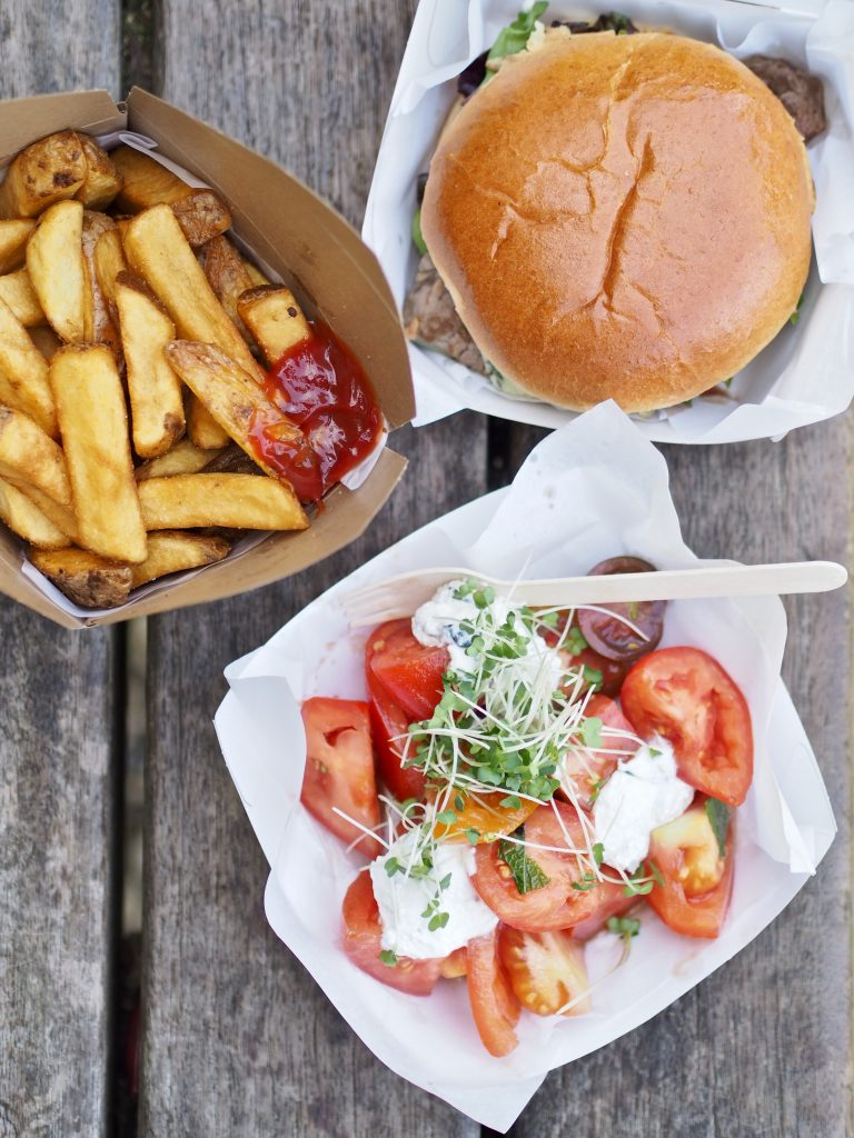 Burgers, steak cut fries and salad at the Giffords Circus